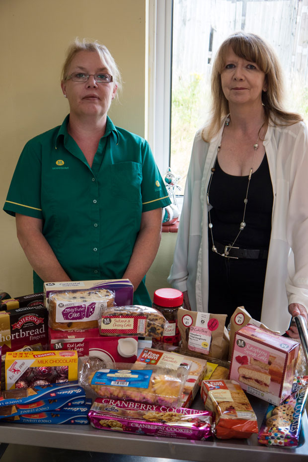 Kirsty from Morrisons and Sharon from MindCare with donated tea and snacks
