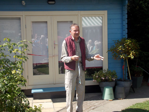 Keith Rodwell gives a speech at the officially opening of the Beckenham MindCare Reminiscence Cabin in honour of his mother