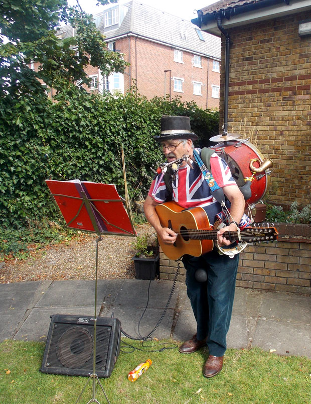 Performer at Opening of Dementia Reminiscence Cabin in Beckenham