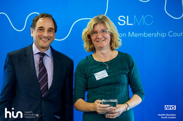 Christine receiving the Health Improvement Network Award for Bromley MindCare