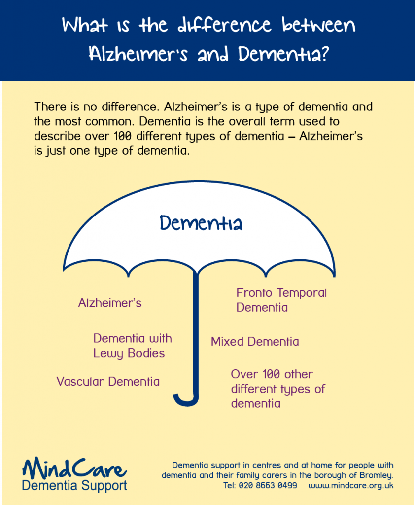 Difference between Alzheimers and Dementia Infographic