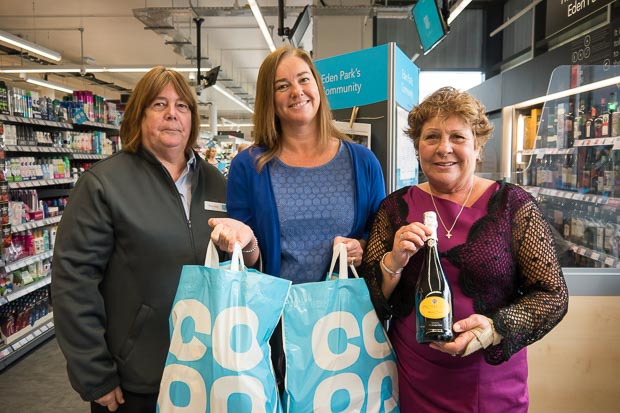Maureen at Co-op Eden Park with Nicola and Jackie from MindCare Dementia Support
