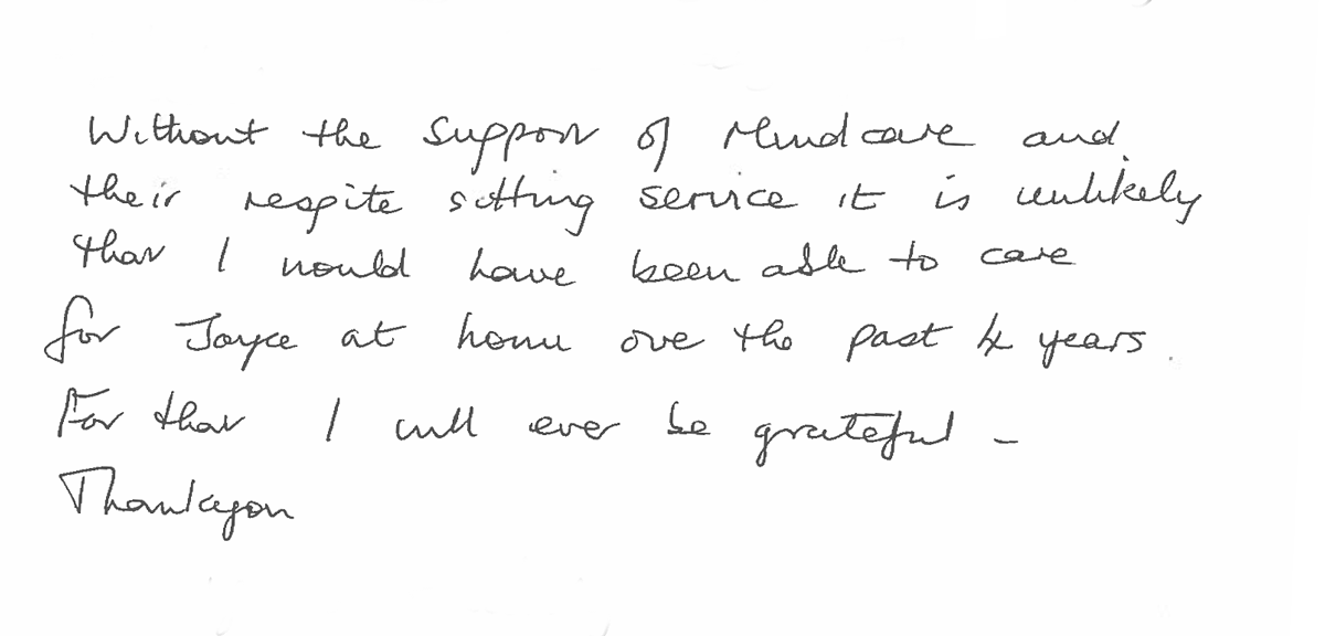 feedback from a carer about MindCare Respite at Home Service