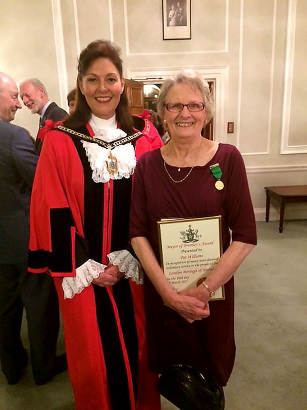 Pat Williams with her Mayor of Bromley Volunteer Award 2017
