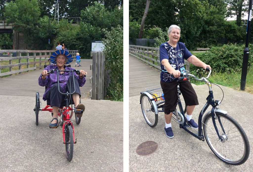 people with dementia cycling around Ladywells Park in Lewisham