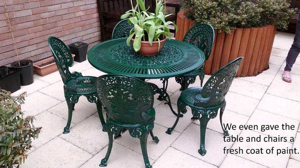Restored garden furniture