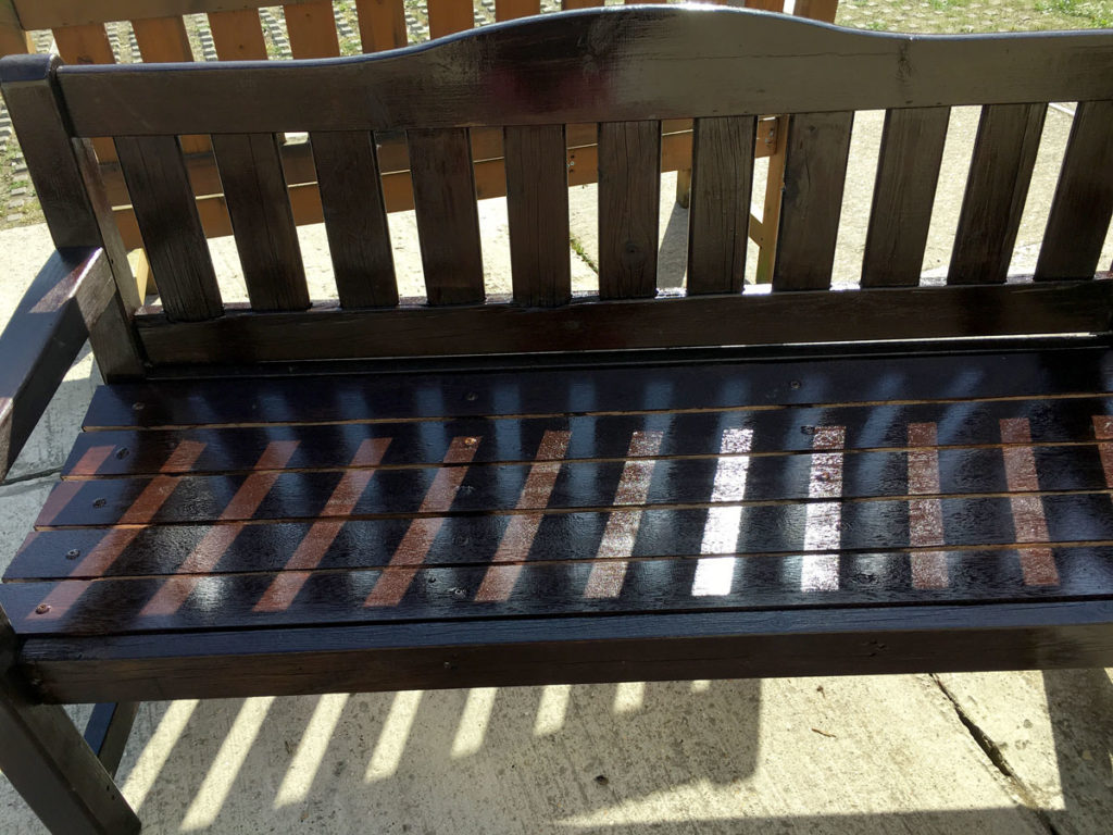Refurbished garden bench at Orpington MindCare Dementia Support