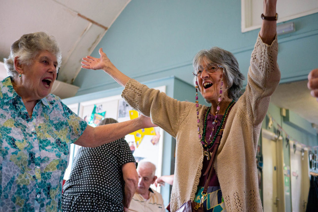 Women with dementia dancing