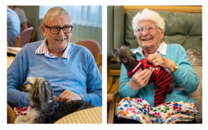 two portraits of a man with animal threapy dog and a woman with dementia playing and laughing with animal therapy dog