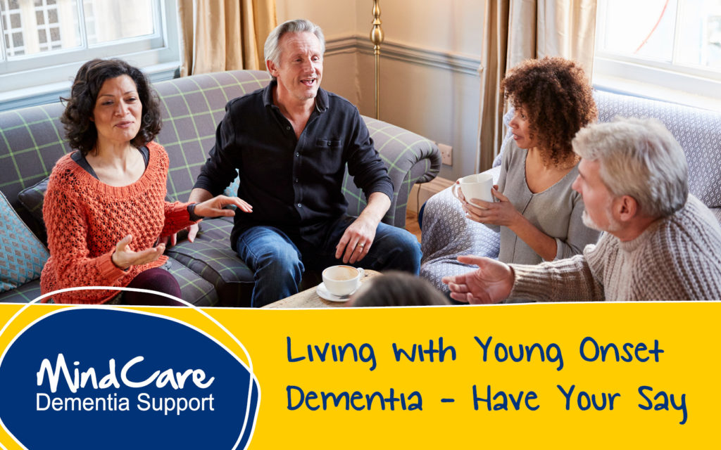 Working age people living with dementia enjoying coffee and conversation