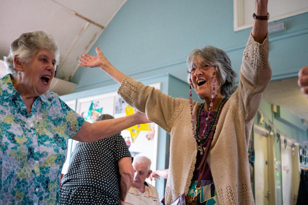Women with dementia dancing