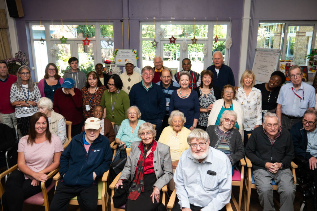 Members of the MindCare Dementia Choir in Beckenham with staff and volunteers
