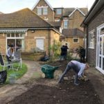 Trafalgar Marketing volunteers working in the Beckenham MindCare garden
