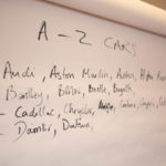 Flipchart with A-Z game of car brands