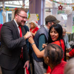 Metro Bank Bromley staff dancing with MindCare staff, volunteers and clients at their Christmas Party 2019